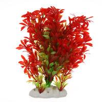 Artificial Plastic Plant Decoration for Aquarium Fish Tank Red Green Color I6E1