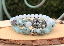 Ganesha Lotus Armband Set Jade Larimar Mala Armband
