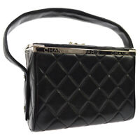 CHANEL Quilted CC Hand Bag Box Purse Black Leather 4136271 Vintage 04304
