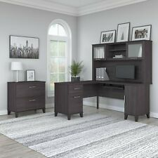 Bush Furniture Somerset 60w L Shaped Desk With Hutch And Lateral File Cabinet In