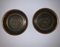 "Vintage Pair Harvard University 3"" Copper Coaster  L.E. Mason"