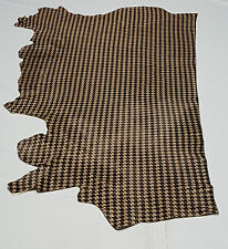 Leather Cow Hides Houndstooth Black & Tan Av 35 Sqft Upholstery Cowhides TS-0403