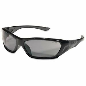 CREWS, INC. FF122 Forceflex Safety Glasses, Black Frame, Gray Lens