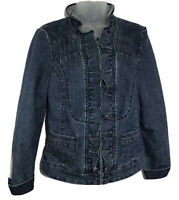 Christiana Zinn Womens Jean Jacket Small Blue Ruffled Front Pin Tuck Full Zip