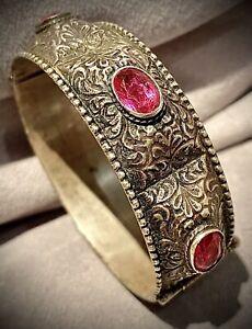 Ancien Bracelet Manchette Argent massif silver ottoman Berbére Kabyle pierre
