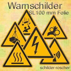 Warnschilder normgerecht, SL 100 mm, Aufkleber Folie / verschiedene