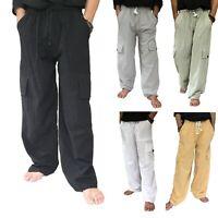PLUS Size Cargo Pants 100% Cotton Baggy Trousers Elastic Waist & Drawstring