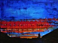 "Original acrylic painting, landscape, signed, by Nalan Laluk: ""Sunset in Surrey"""