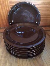 Set Of 8 Glazed Pottery Brown Dessert/Salad Plates