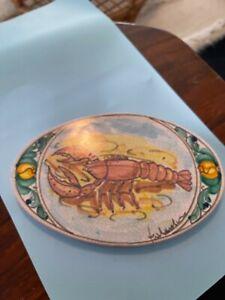 Vietri Italian studio Ceramic Tile plaque of lobstesigned by artist Fratantoni.