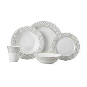 20pc Maxwell & William Jewel Rim Dinner Set Bowl/Mug/Dinner Plate/Side Plate BLK