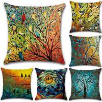 Birds Plant Colorful Sofa Pillowcase Cushion Cover Throw Pillow Case Home Decor