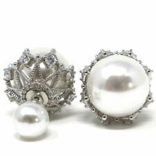 Hand Carved Round Akoya Pearl Earrings Nickel Free Jewelry 14K White Gold Plated