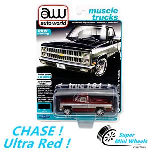 CHASE ! Ultra Red ! Auto World 1:64 - 1982 Chevy Silverado 10 Fleetside (Blue)