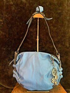 NWT SEF Blue Soft Leather Messenger Bag RFID w/ Keychain