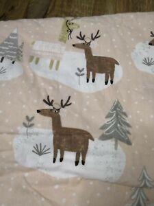 pottery barn kids Reindeer Full Size Duvet Cover Flannel Winter Pink Plush Snow