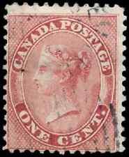 Canada #14 used F 1859 First Cents 1c rose Queen Victoria Duplex cancel CV$40.00