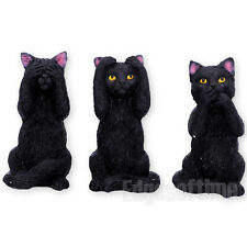 THREE WISE FELINE CATS FIGURINE ORNAMENT FELINES SEE NO SPEAK NO HEAR NO EVIL