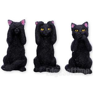 THREE WISE FELINE CATS FIGURINE ORNAMENT FELINES SEE NO SPEAK NO HEAR NO EVIL