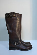 sz 6 Frye Veronica Slouch Brown Leather Tall Pull-On Biker Riding Boots Shoes
