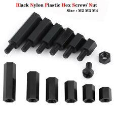 M2 M3 M4 Black Nylon Plastic Hex Column Standoff Spacer Pillar Screw/ Nut Bolts