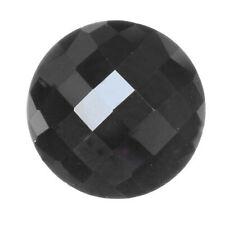 10mm Round Natural Black Hematite Faceted Checkerboard Top Flat Bottom Gemstone