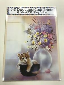 """'Kitten in Bowl and Vase"""" Set of 6 Prints and Cutting Guide for Decoupage"""