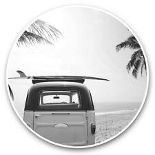 2 x Vinyl Stickers 10cm (bw) - Surf Bus Van Surfer Surfing  #38139