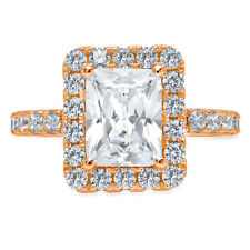 3.7ct Emerald Round Cut Halo Solitaire Engagement Promise Ring 14k Rose Gold