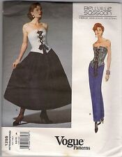 Vogue Sewing Pattern, Bellville Sassoon 1255, Bustier & Skirt, Size 6 -10, Uncut