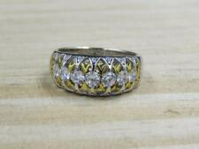 Verragio for Diamonique Two-Tone Sterling Silver 7 Stone Cage Band Ring Sz 10.5