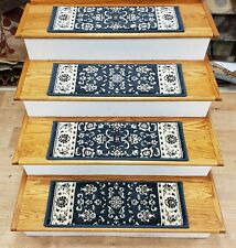 """Set of 13 Blue Traditional Non Slip Carpet Stair Treads 26"""" x 9"""" - Rug Depot"""