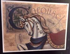FINE ART LITHOGRAPH: CAROUSEL HORSES II BY STEVE BUTLER  19 X 25