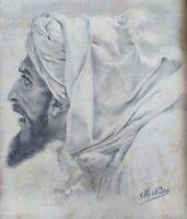 Dessin au fusain sur papier vergé Ingres fin 19ème - Portrait oriental Touareg