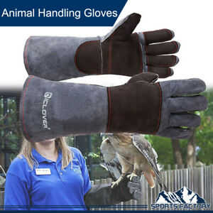Animal Handling Gloves Leather Sleeve Bite Proof Dog Cat Bird Reptile Protection