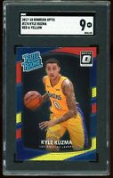 2017-18 Donruss Optic Red Yellow Prizm #174 Kyle Kuzma RC SGC 9 = PSA 9 MINT