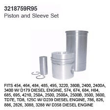 3218759R95 Case Tractor Parts Piston and Sleeve Set IH 454, 464, 484, 485, 495,