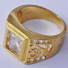 Fashion Jewelry 18K White Gold Plated Clear CZ Mens square Ring Lot Size 9