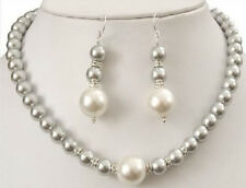 Prety 8-12MM Grey Sea Shell Pearl Necklace + Earring Jewelry Set AAA