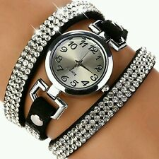 Nero con strass pelle Bracciale Rotonda Calda orologi da polso donna dress WATCH