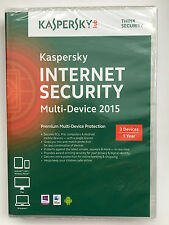 Kaspersky Internet Security 2015 Multi 3 Device 1 Year Retail DVD PC Mac Android