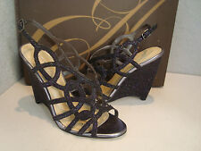 Enzo Angiolini Womens New Tinazio Black Multi Wedge Glitter Sandals Shoes 6 Med