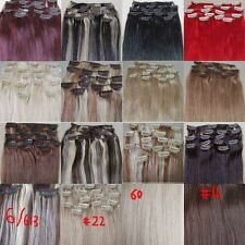 """AAA+ 15""""~22"""" Remy Human Hair 15pcs Clips In Extensions 75g Straight More Colors"""
