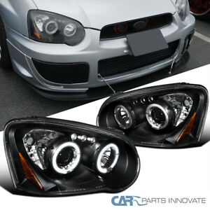 For Subaru 04-05 Impreza WRX LED Halo Projector Headlights Lamps Black Clear