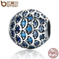 Bamoer European 925 Silver charm Daughter Of Sea Blue CZ Fit Bracelets Jewelry
