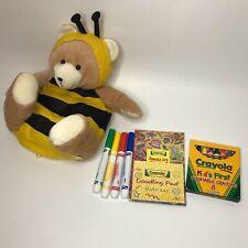 "Honey Bee Bear Bag Purse Plush 12"" Mary Kay Crayons Markers Kids Coloring"