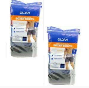 Gildan Mens Size 2XL Classic Length Tag-Free Boxer Briefs 10 Pack Multi-Color
