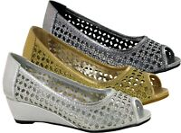 Ladies New Low Wedge Heel Slip On Bridal Party Shoes UK Size 3-9