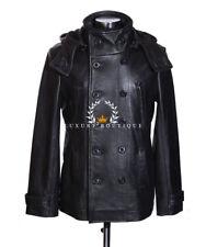 German Brigadier Black (S8691) Men's New Military Hooded Cowhide Leather Jacket