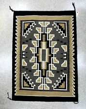 """Navajo Rug - Two Grey Hills  c.1950 42"""" x 30"""" , Mint condition, Intricate motifs"""